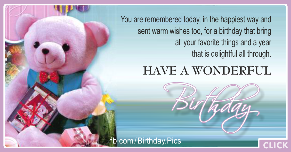 Pink Teddy Bear Happy Birthday Card