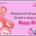 Pink Teddy Pinky Happy Birthday Card