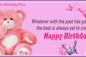 Pink Teddy Pinky Happy Birthday Card
