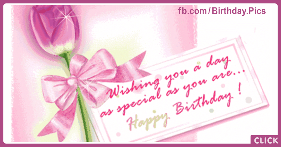 Pink Tulip Happy Birthday Card
