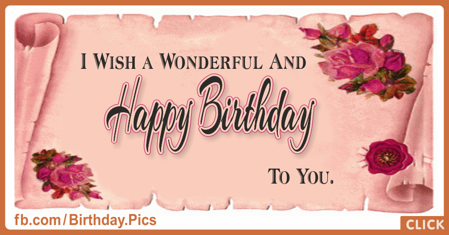 Pinky Rolled Paper Happy Birthday Card