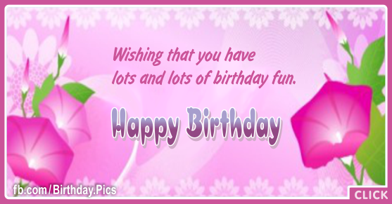 Pinky Vine Flowers Happy Birthday Card for celebrating
