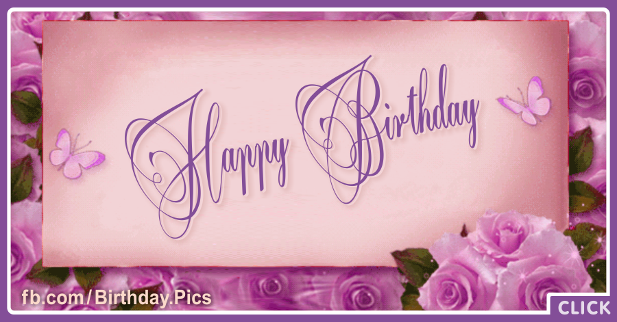 Pinky Vintage Happy Birthday Card