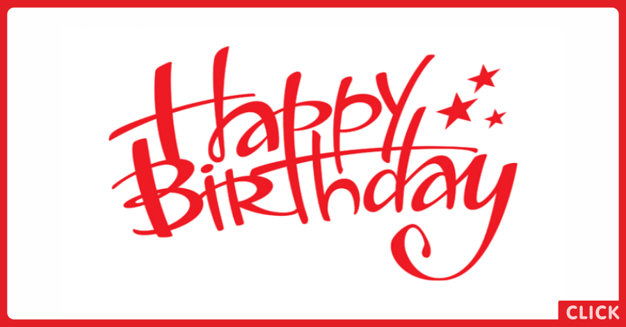 Red Hand Writing Happy Birthday Card