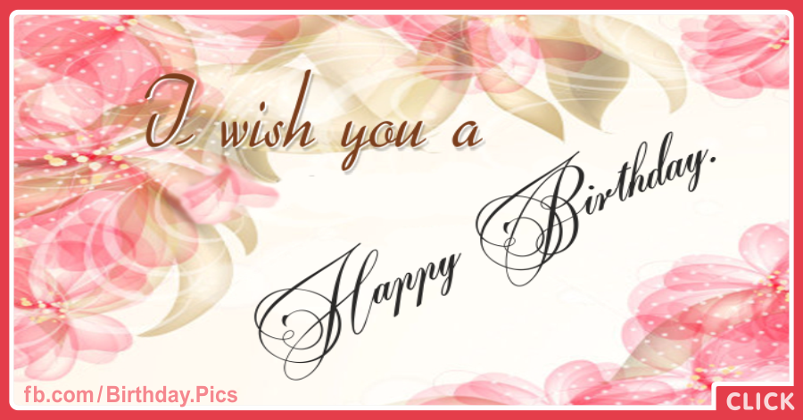 Romantic Pink Flowers Happy Birthday Card
