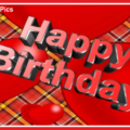 Text 3D On Tartan Happy Birthday Card