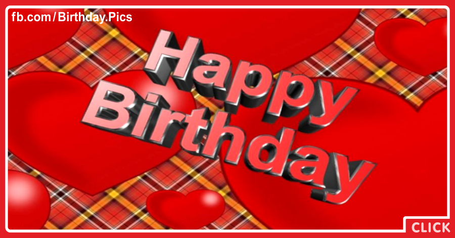 Text 3D On Tartan Happy Birthday Card