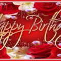 Transparent Beads On Red Roses Birthday Card
