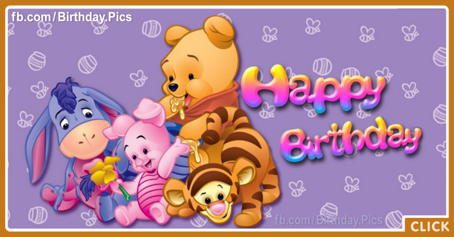 Vinnie Pooh Friends - Happy Birthday Card
