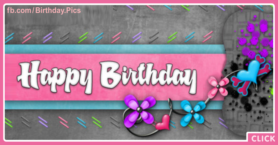 Violet Flowers - Happy Birthday Card