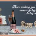 White Cake And Champagne Birthday Card