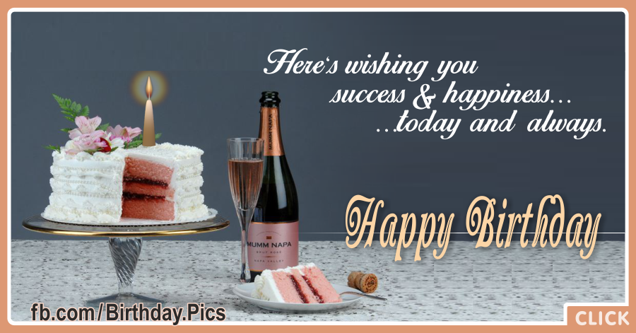 White Cake And Champagne Birthday Card for celebrating