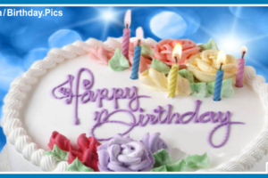 White Cake On Blue Happy Birthday Card