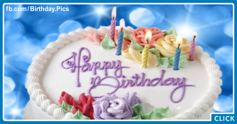 White Cake On Blue - Happy Birthday Card