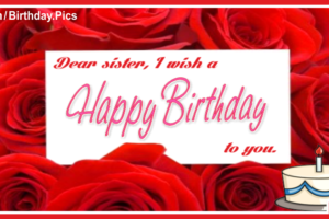 Wishes On Red Roses Happy Birthday Card For You Sister
