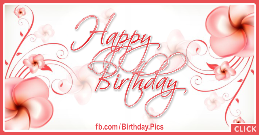 Abstract Flowers Pink Happy Birthday Card