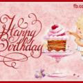 Angel Baby Calligraphic Happy Birthday Card
