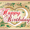 Antique Heart Happy Birthday Card