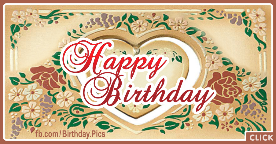 Antique Heart Happy Birthday Card