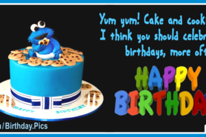 Baby Cookie Monster Cake Happy Birthday Card For You