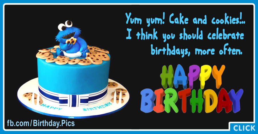 Baby Cookie Monster Cake Happy Birthday Card