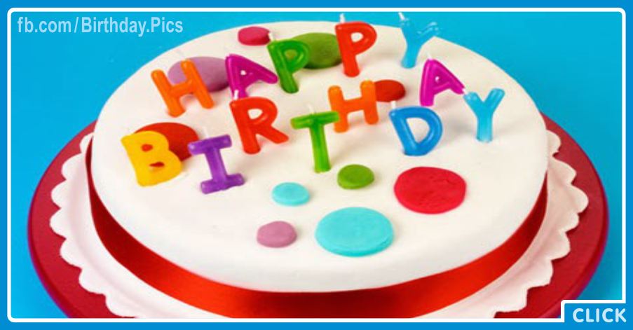 Beatiful White Red Cake Happy Birthday Card