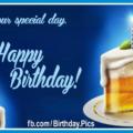 Beer Glass Cake Slice Happy Birthday Card