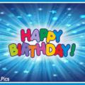 Blue Stars Bursts Happy Birthday Card