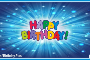 Blue Stars Bursts Happy Birthday Card