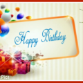 Boxes Gold Frame Happy Birthday Card