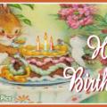 Bunny Decorating Cake Happy Birthday Card