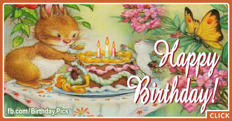 Bunny Rabbit Decorating Cake Happy Birthday Card for celebrating
