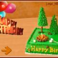 Camping Cake Balloons Birthday Card
