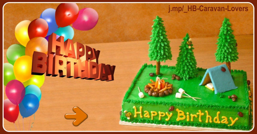 Camping Cake Balloons Birthday Card