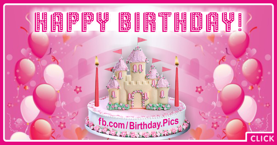 Castle Pink Balloons Happy Birthday Card