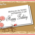 Cherry Cake Gold Happy Birthday Card