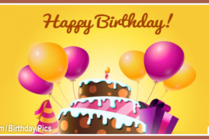 Chocolate Cake Balloons Happy Birthday Card