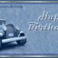 Classic Automobile Blue Birthday Card