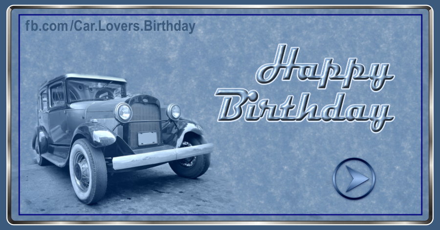 Classic Automobile Blue Birthday Card