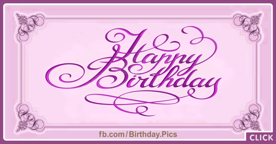 Classic Calligraphic Pink Happy Birthday Card