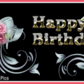 Classic Flowers Gold Happy Birthday Card