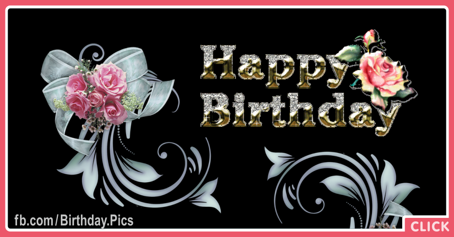 Classic Flowers Golden Happy Birthday Card for celebrating