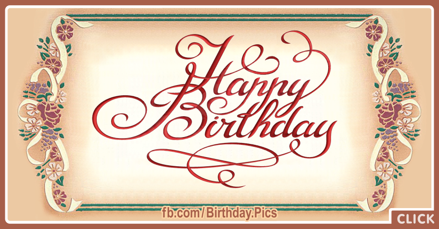 Classic Painted Calligraphic Happy Birthday Card