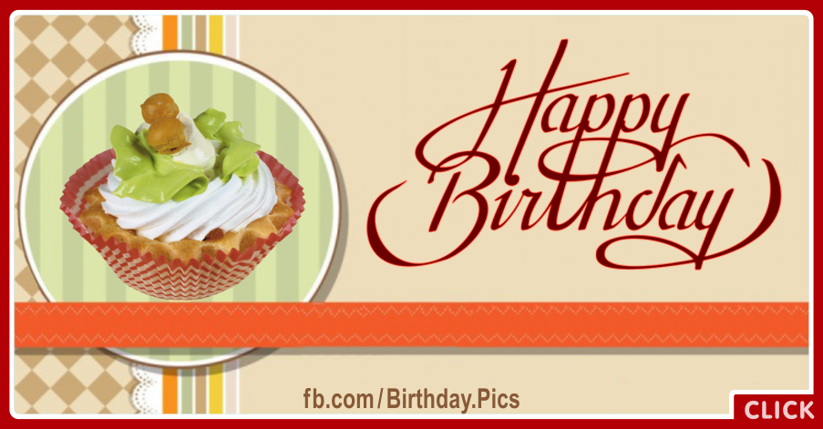 Classic Style Cupcake Happy Birthday Card for celebrating