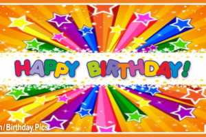 Colored Stars Burst Happy Birthday Card