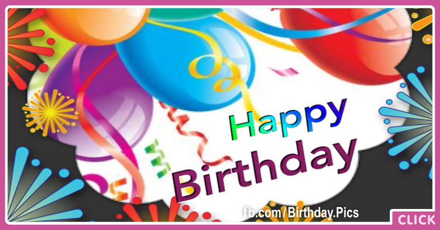 Colorful Balloons Confetties Happy Birthday Card