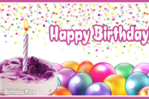 Confettie Balloons Purple Happy Birthday Card
