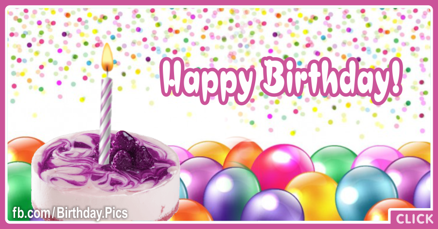 Confettie Balloons Purple Happy Birthday Card for celebrating