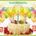 Cream Cake Yellow Balloons Happy Birthday Card