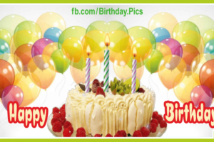 Cream Cake Yellow Balloons Happy Birthday Card To You